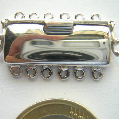 Chiusura cassettina 6 fili argento rodiato 925.